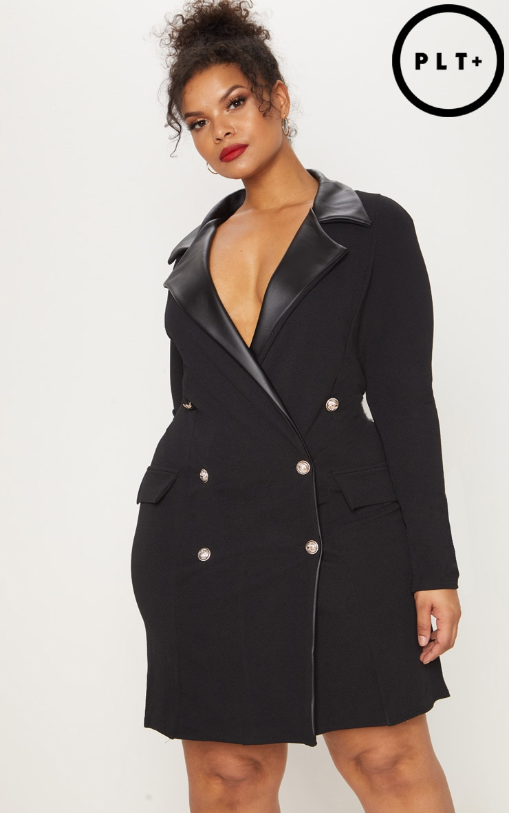 Plus Black PU Trim Button Detail Blazer Dress 1