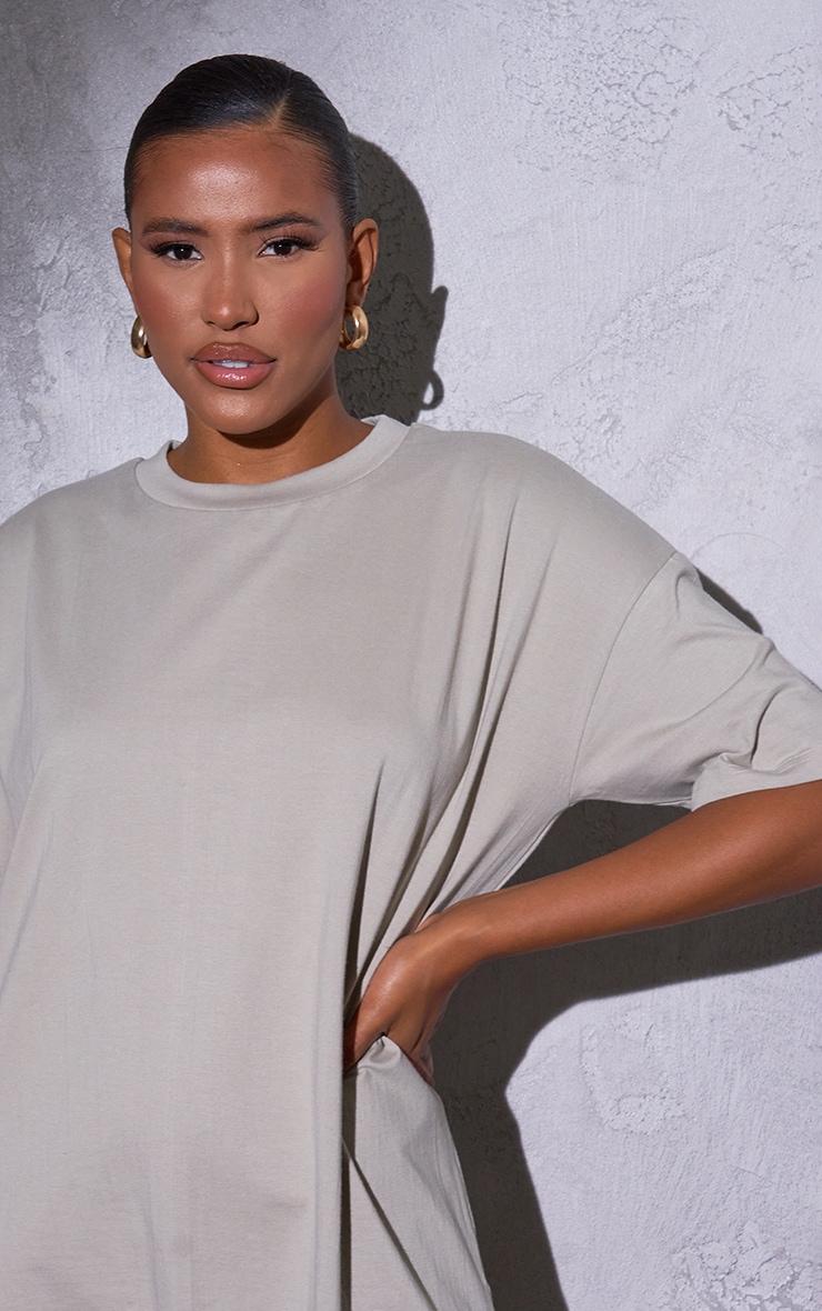 RENEW Beige Oversized Boyfriend T Shirt Dress 4