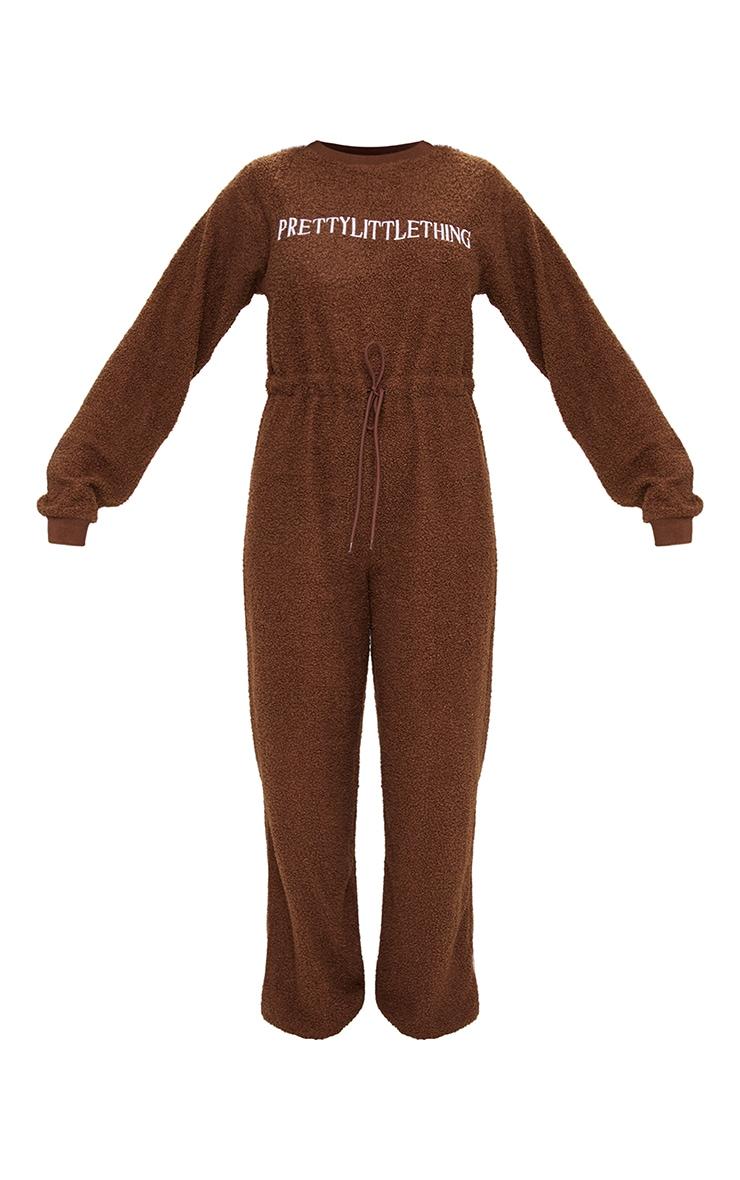 PRETTYLITTLETHING Chocolate Borg Long Sleeve Jumpsuit 5