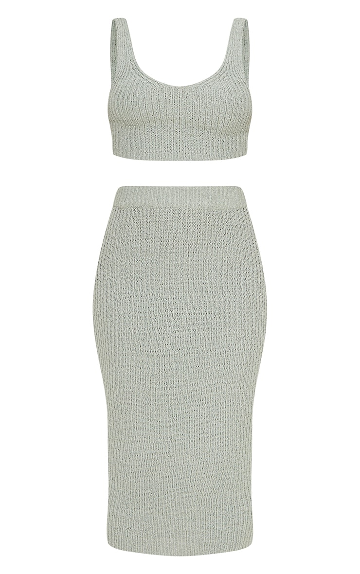 Mint Tape Yarn Knitted Midi Skirt Set 5