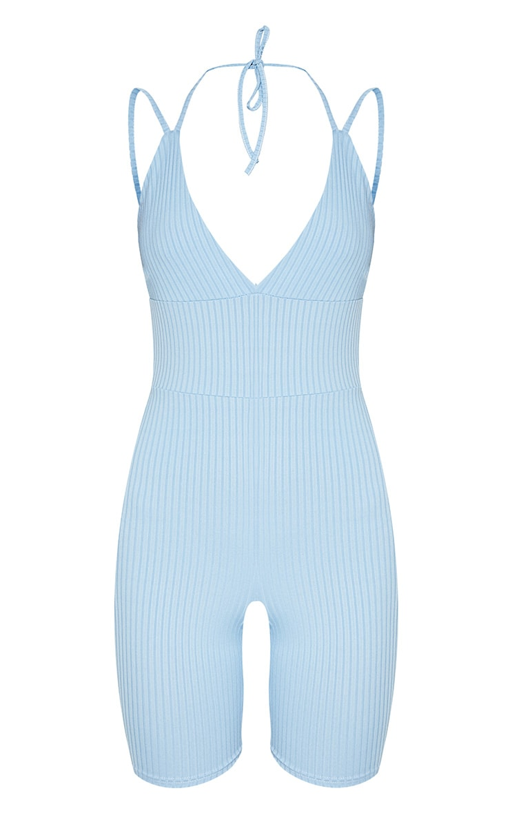 Mineral Blue Ribbed Double Strap Plunge Unitard 3