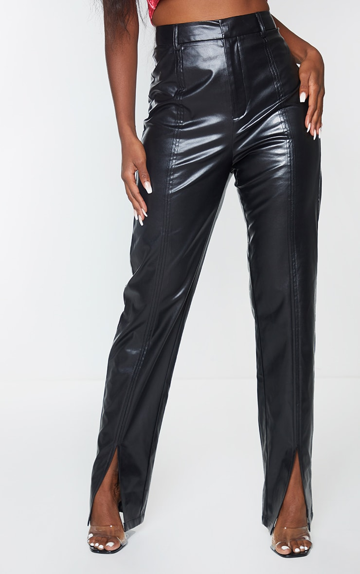 Black Faux Leather Split Hem Seam Detail Skinny Pants 2