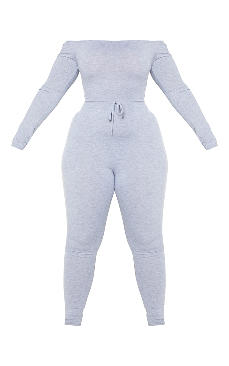 Plus Grey Jersey Bardot Basic Jumpsuit 5