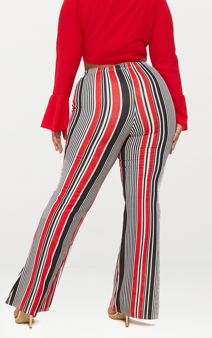 Plus Red Striped Gold Button Flared Trousers 4