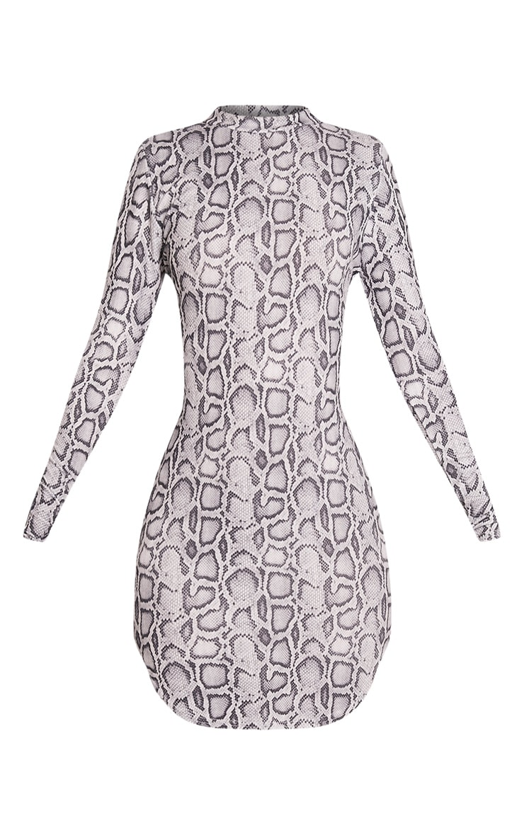 Alby Grey Snake Print Curved Hem Dress 3
