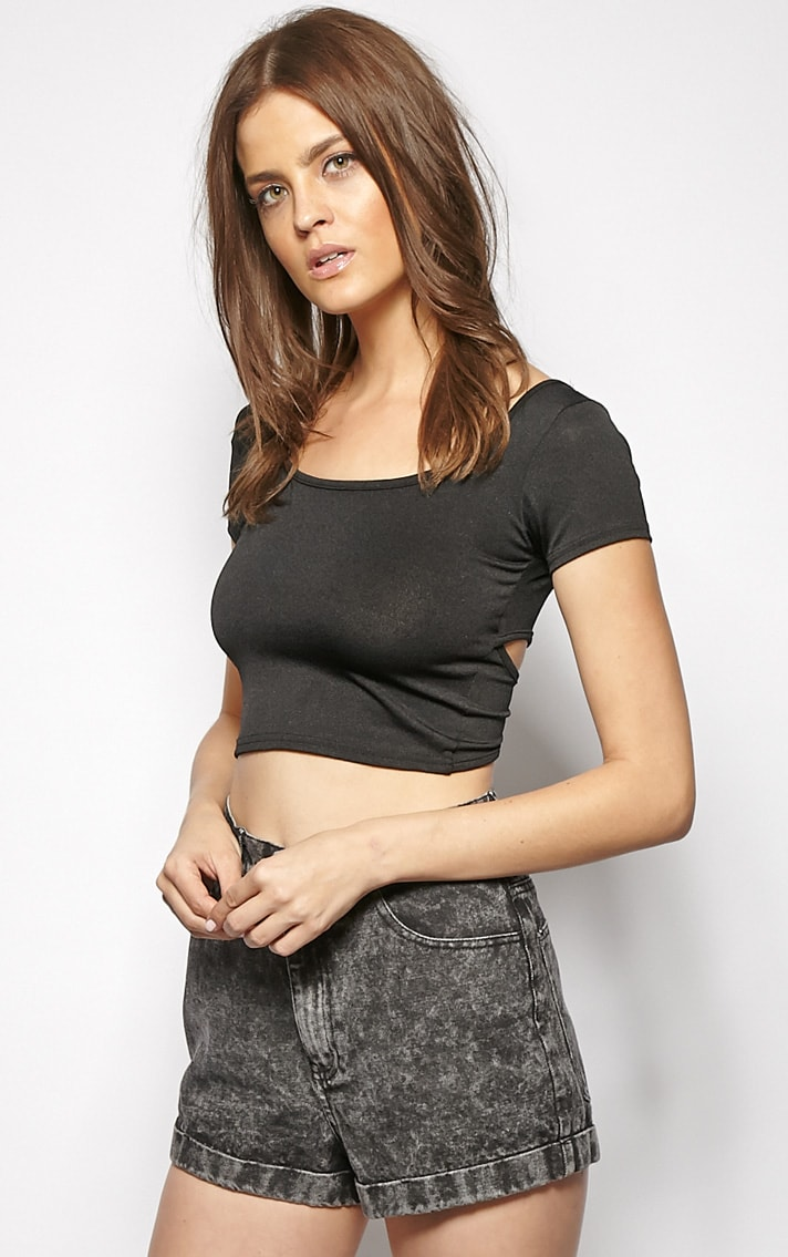 Bailey Black Cut Out Crop Top  3