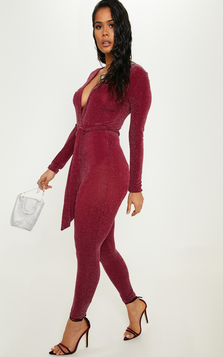 Burgundy Textured Glitter Tie Waist Jumpsuit 4