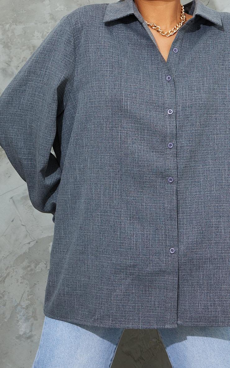Dark Grey Oversized Cuff Shirt 4