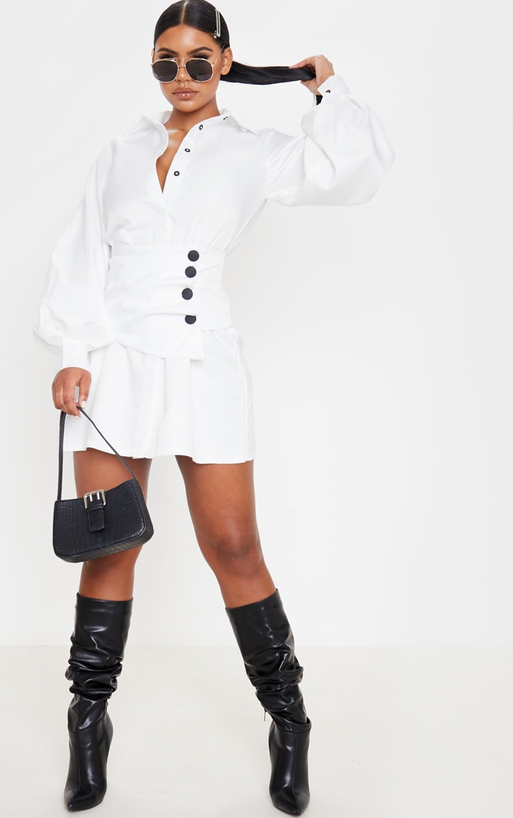 White Button Waist Detail Shirt Dress 4