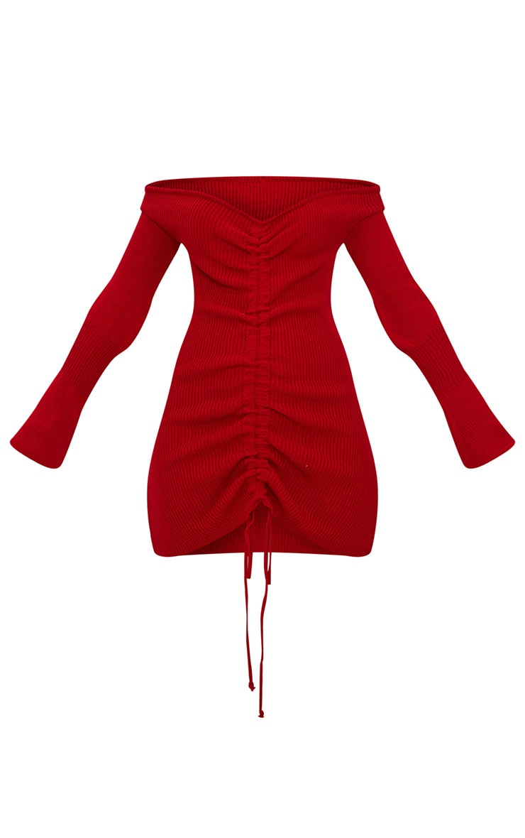 Red Ruched Knit Dress 3