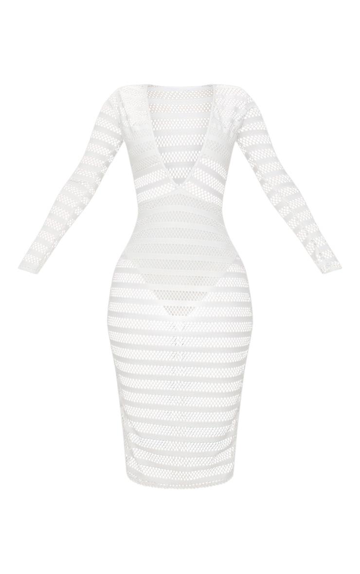 Shape White Sheer Plunge Midi Dress 3