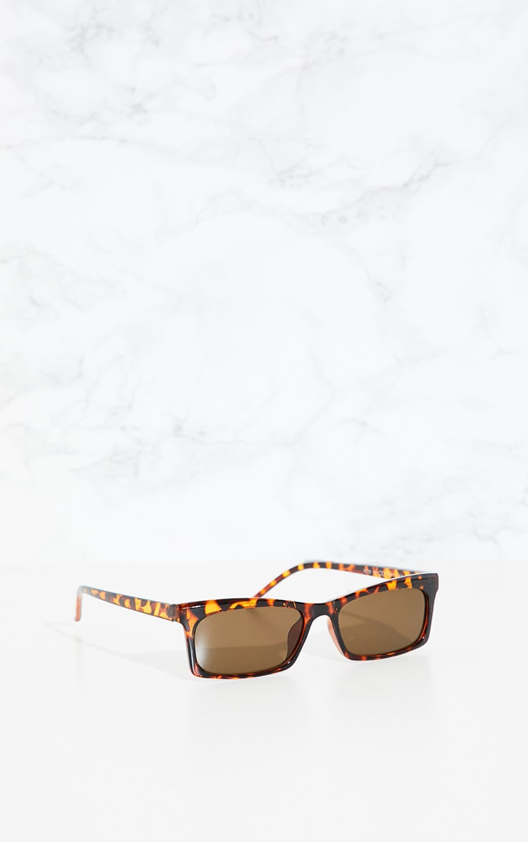 Brown Slim Rectangle Sunglasses 2