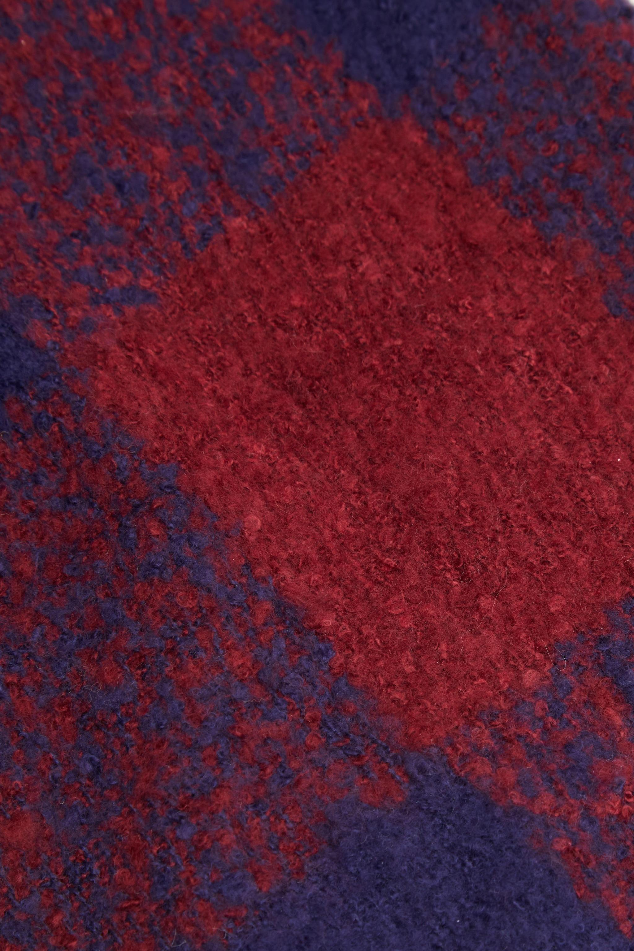 Burgundy And Navy Check Blanket Tassel Scarf 3