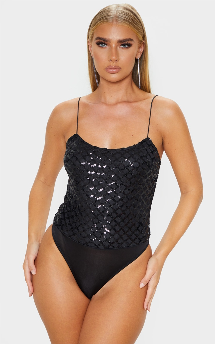 Black Strappy Sequin Straight Neck Bodysuit 1