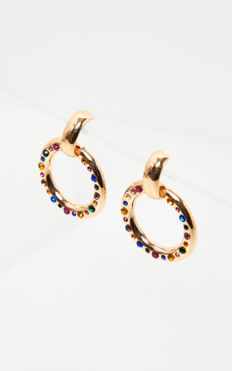 Gold Multi Colour Gemstone Lined Ring Drop Earrings 3