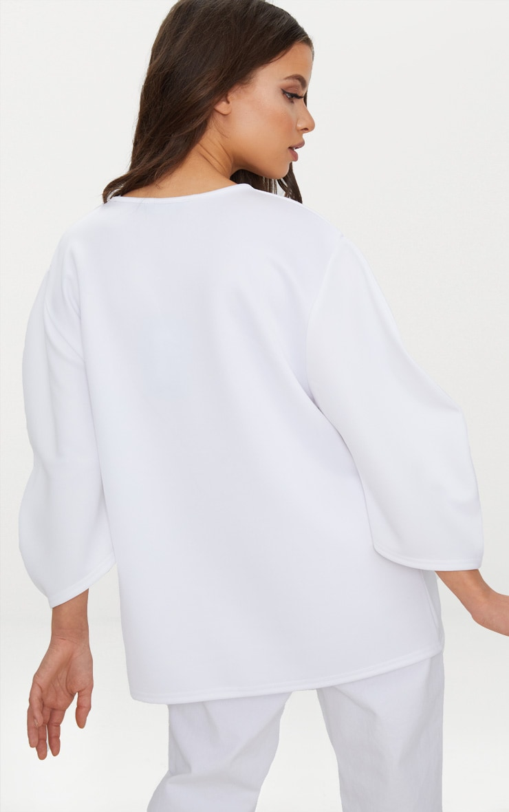 White Scuba Oversized Top  2