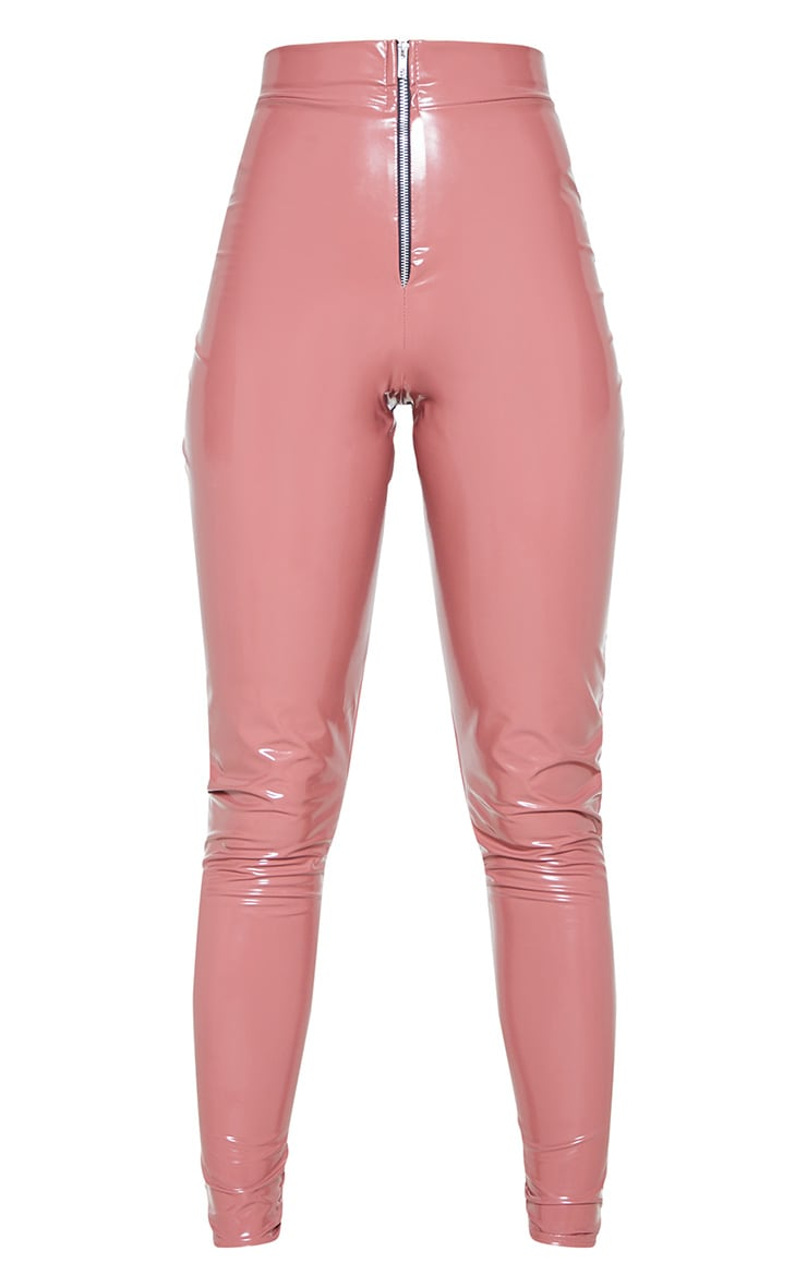 Tall Nude Zip Detail Vinyl Leggings 4