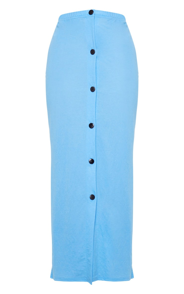 Blue Woven Button Detail Midi Skirt 3