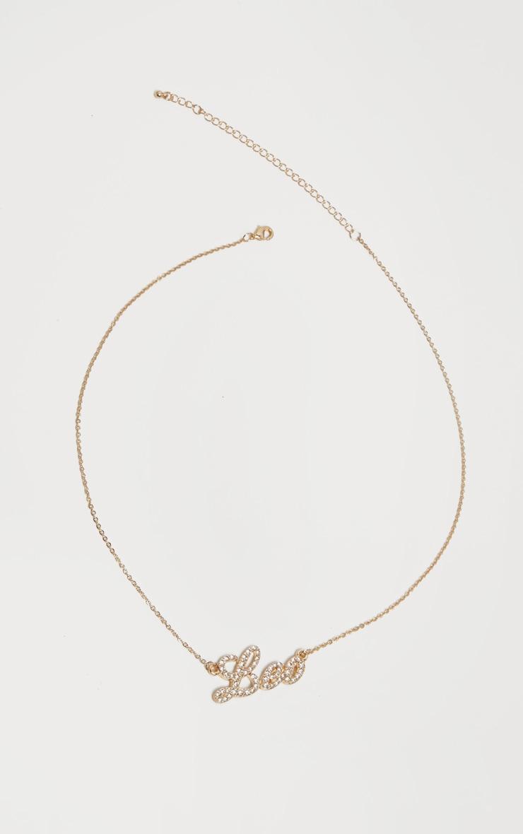 Gold Diamante Leo Star Sign Necklace 4