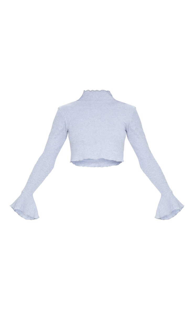 Grey Rib Frill Detail Long Sleeve Crop Top 5