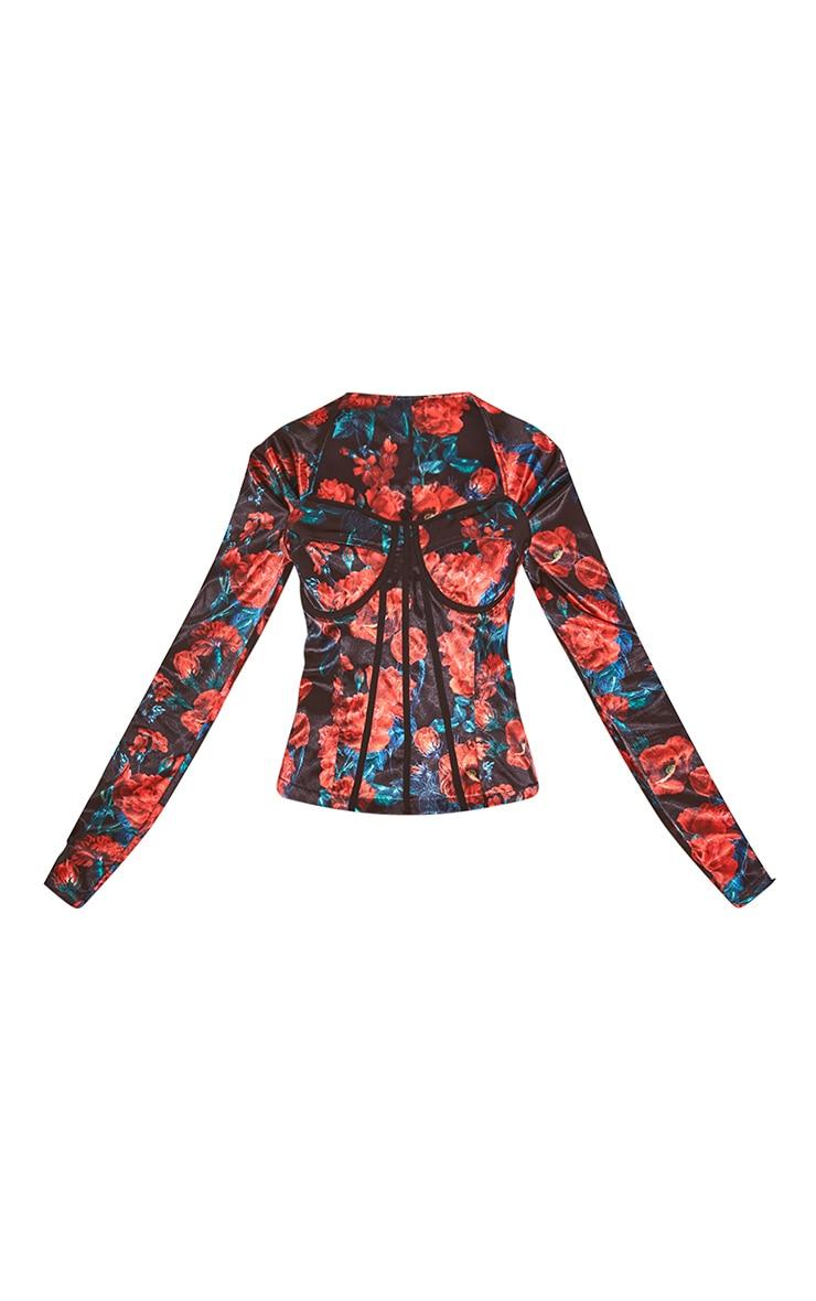 Long top style corset rouge satiné imprimé floral  5