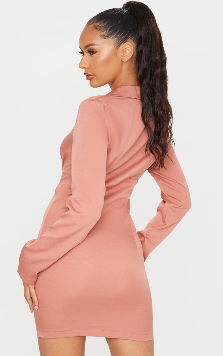 Deep Rose Long Sleeve Corset Lace Up Blazer Style Bodycon Dress 2