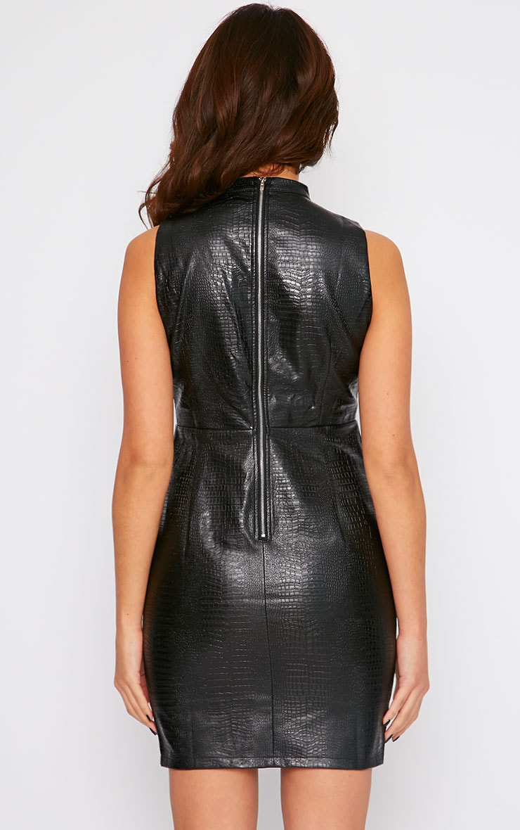 Braylee Black Cut Out Crocodile Leather Dress 2
