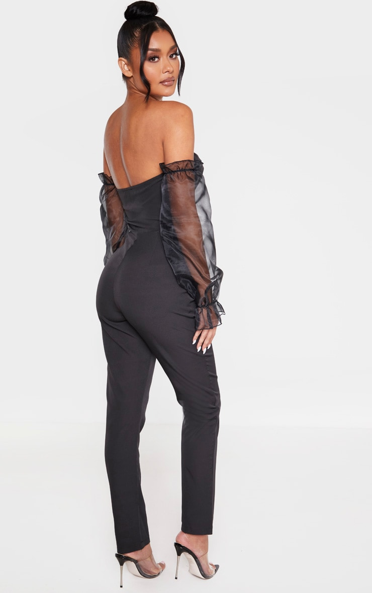 Black Lace Up Organza Puff Sleeve Bardot Jumpsuit 2