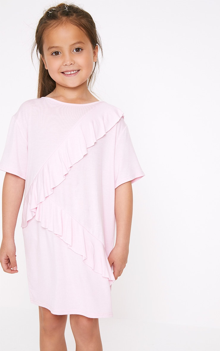 Ruffle Front Pink T Shirt Dress  4