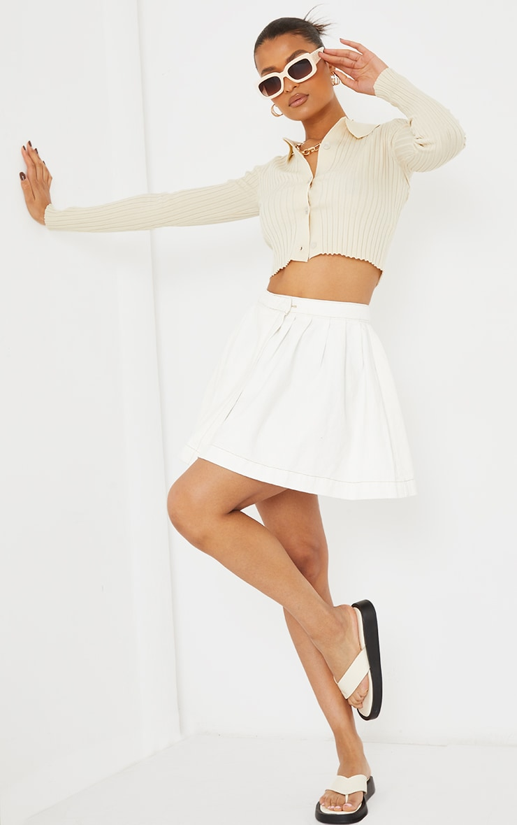 White Ecru Stitch Denim Tennis Skirt 1