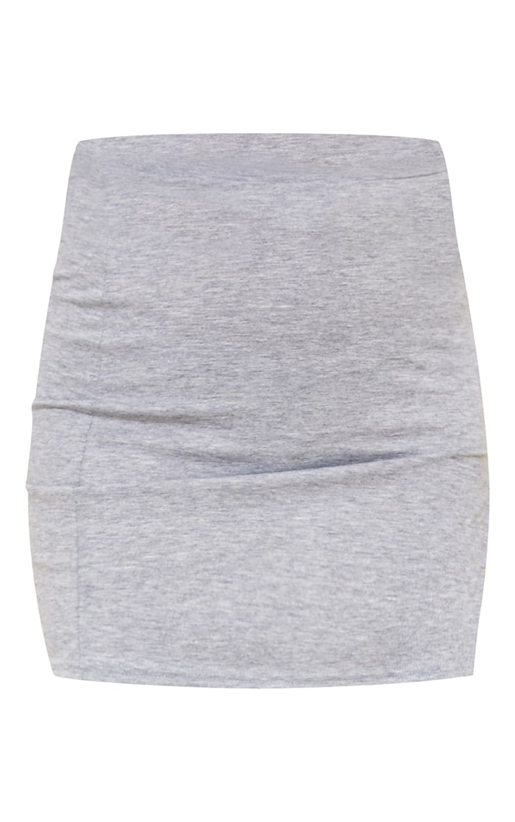 Grey Marl Jersey Side Split Mini Skirt 5