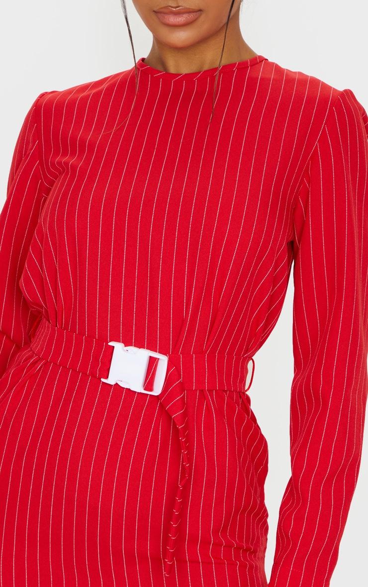 Red Long Sleeve Pinstripe Belt T Shirt Dress 5