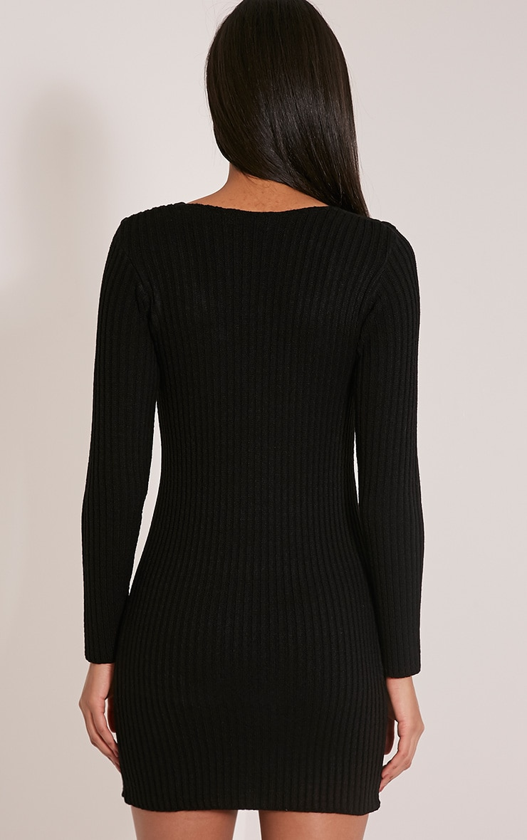 Zosia Black Lace Up Knitted Jumper Dress 2
