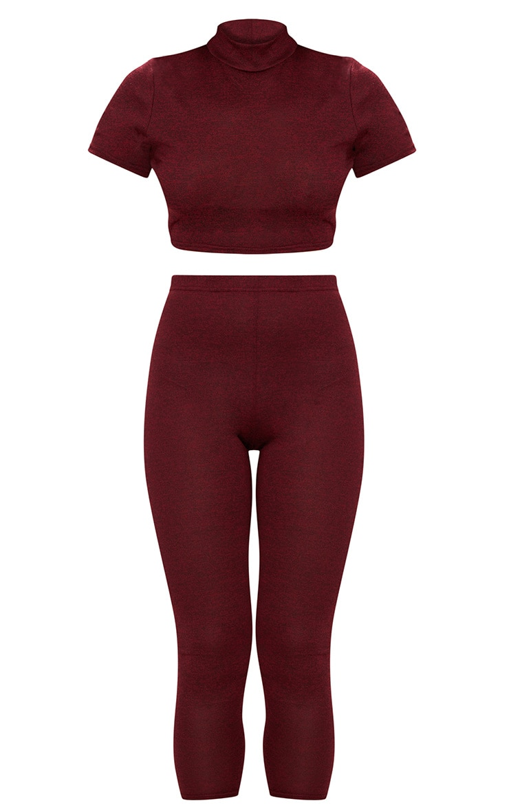Red High Neck Cropped Knitted Legging Set 3