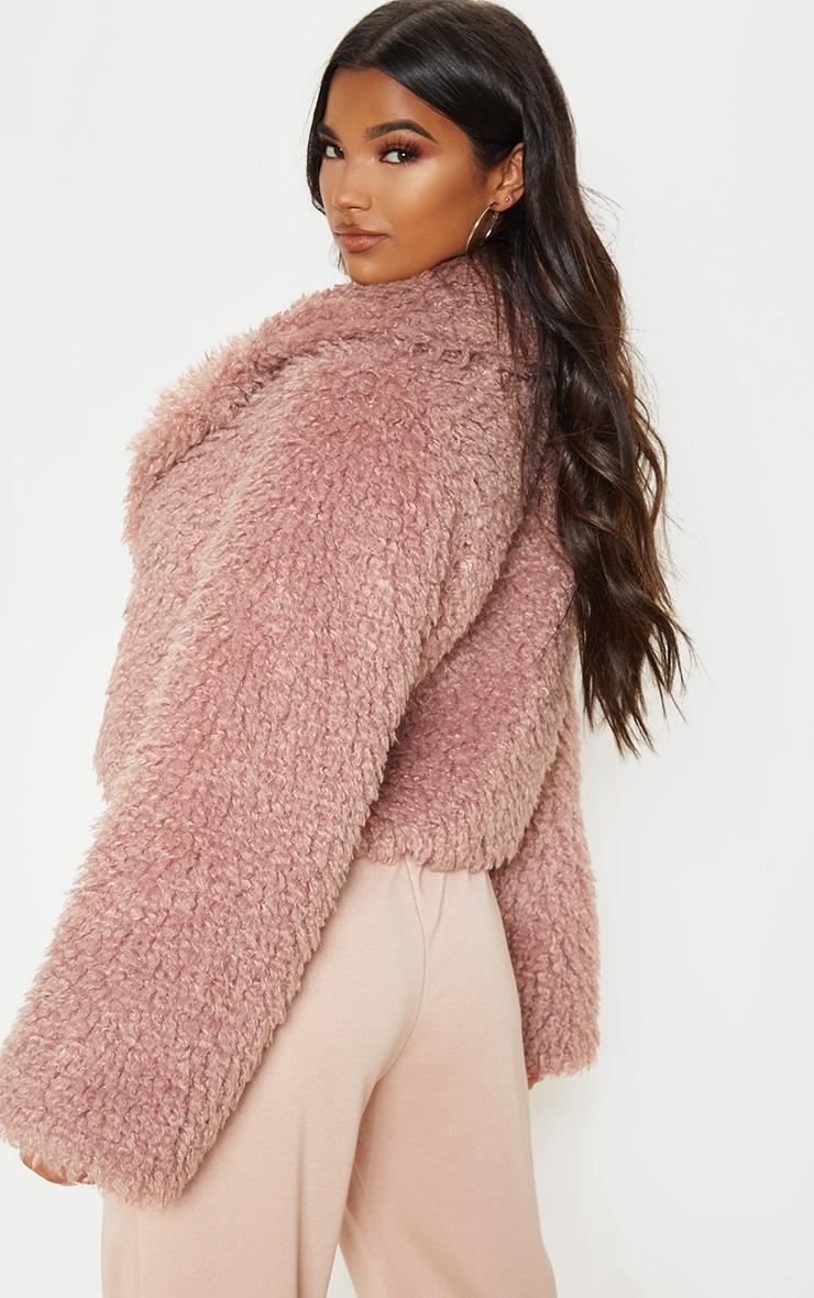 Rose Cropped Teddy Faux Fur Coat  2