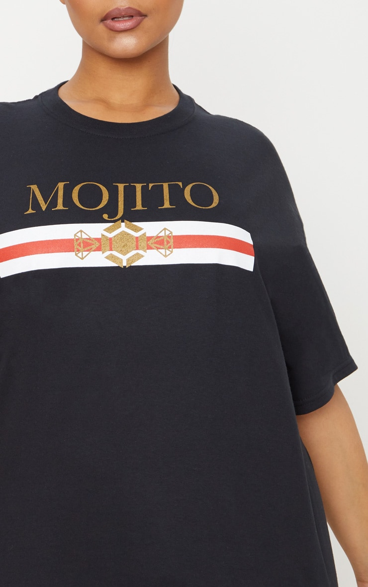 Plus Black Mojito Slogan T Shirt 4