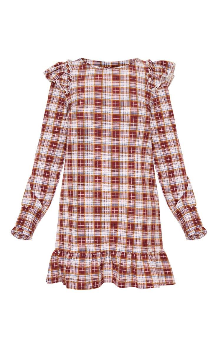 Petite Red Checked Frill Hem Long Sleeve Mini Dress 4