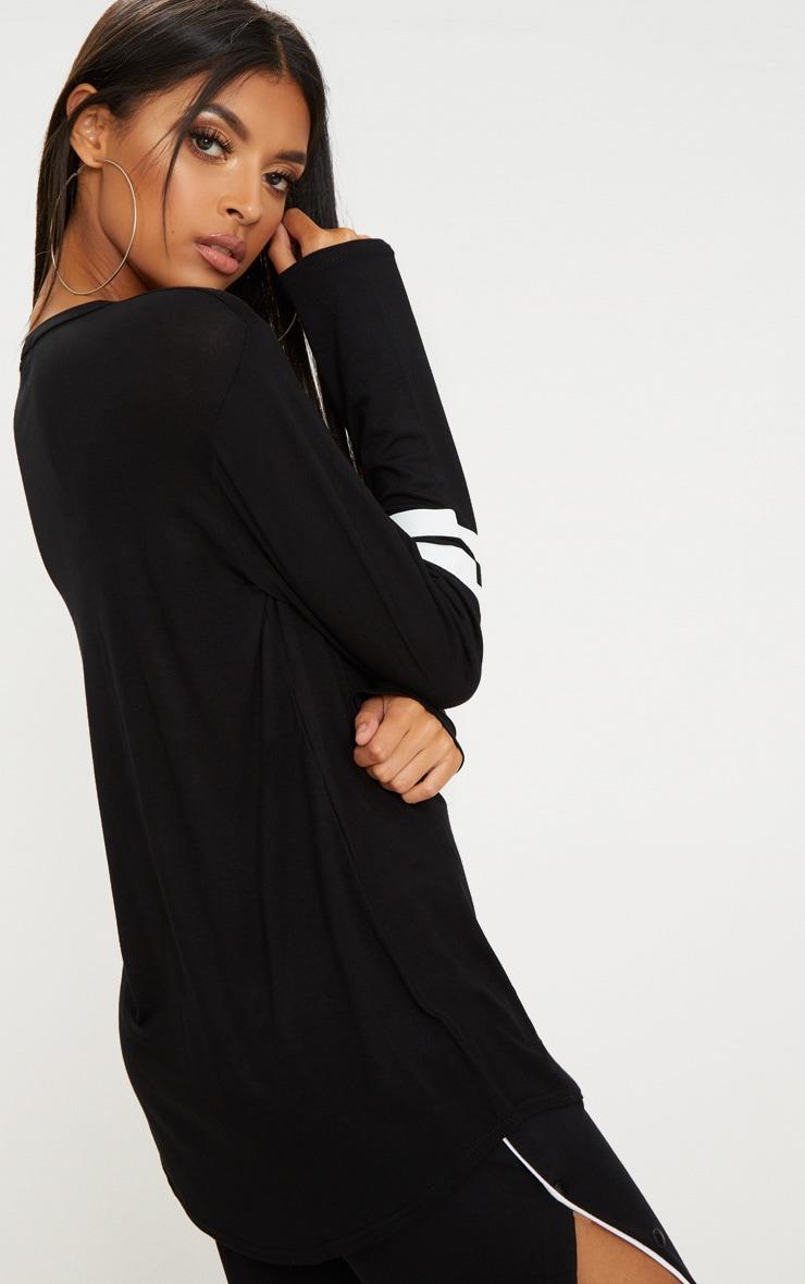 Basic Black Sport Stripe Sleeve Long Sleeve Top 2