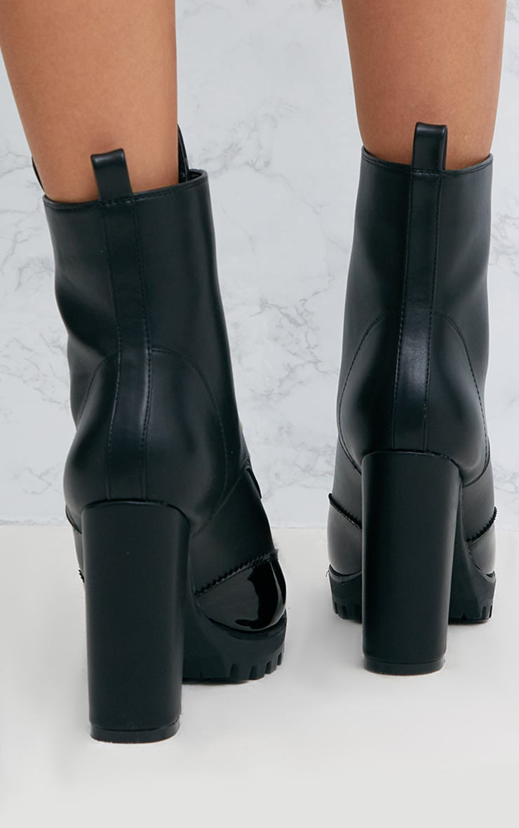 Black Pearl Zip Heeled Ankle Boots 4