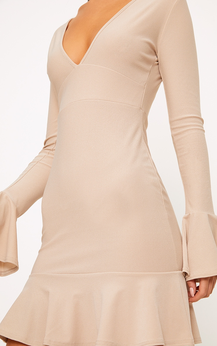 Nude Plunge Frill Sleeve Bodycon Dress 4