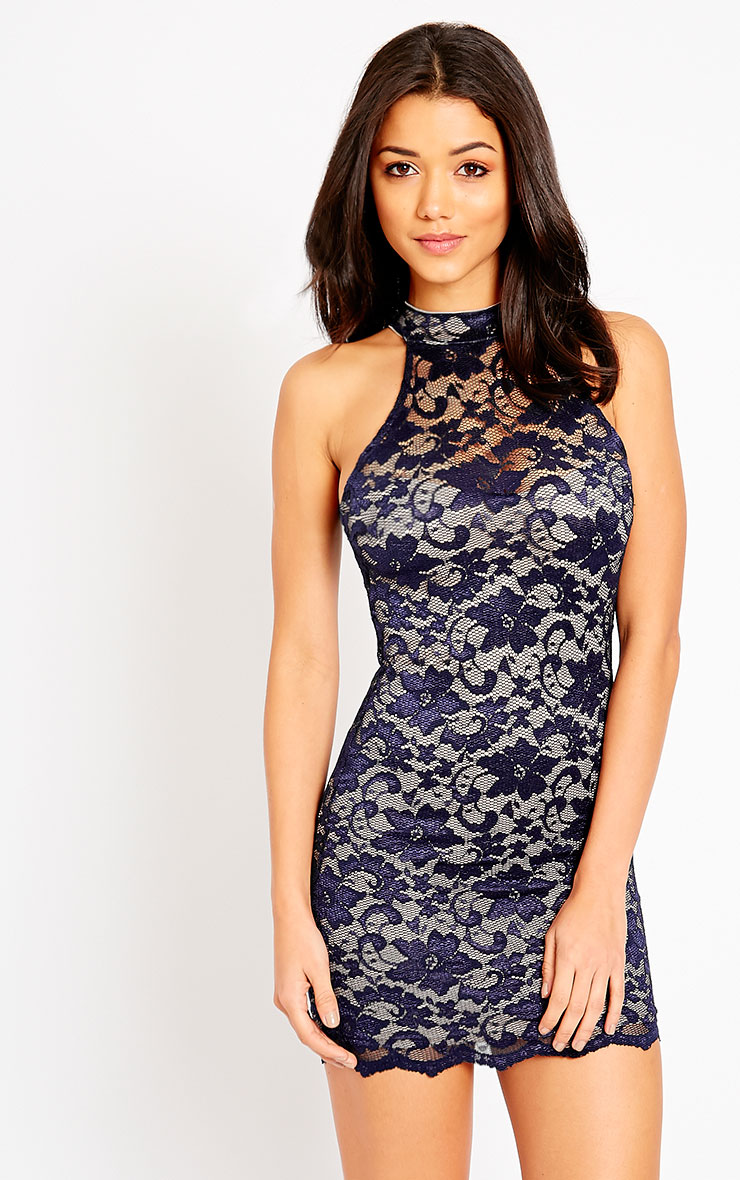 Soffi Navy High Neck Lace Bodycon Dress 1