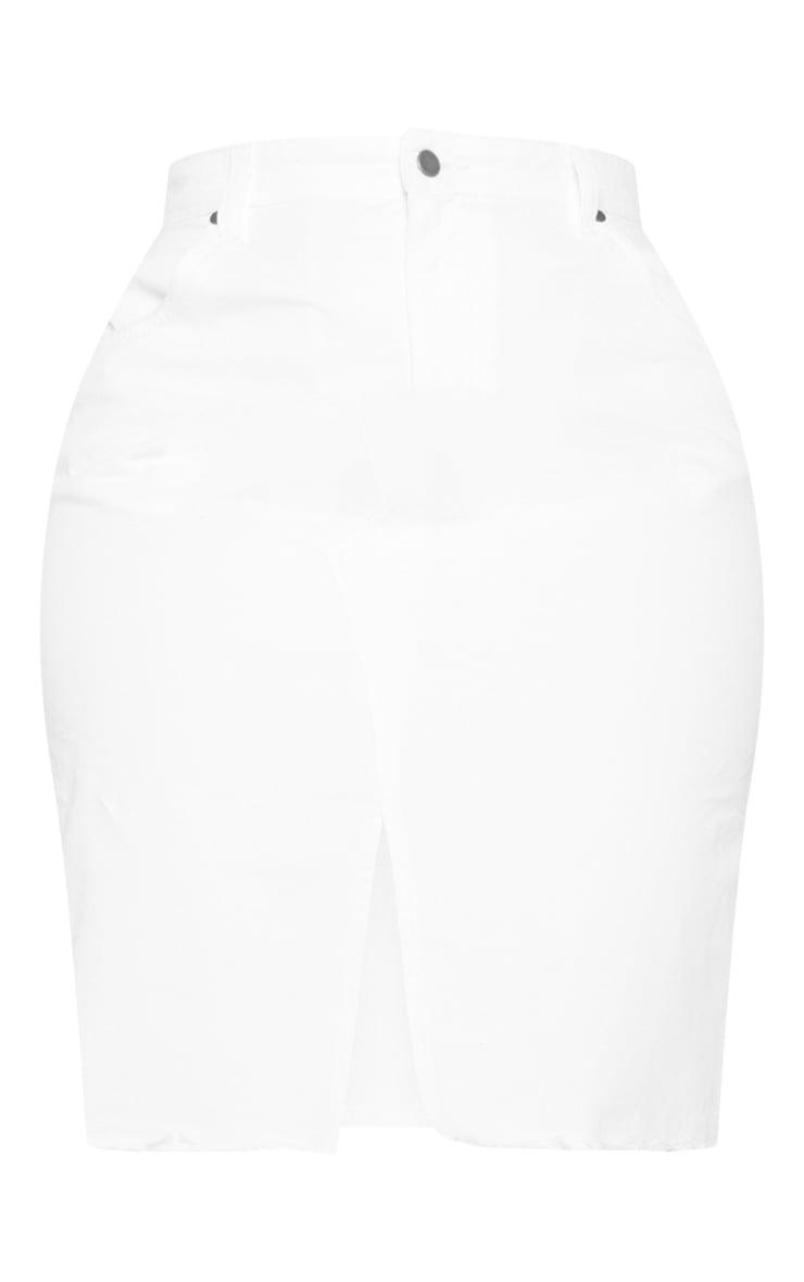 Plus White Denim Fray Hem Midi Skirt  3