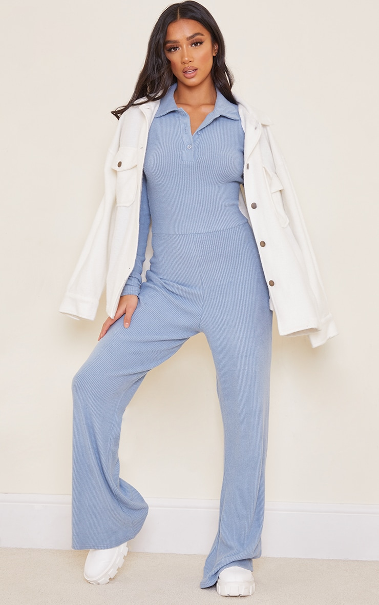Petite Steal Blue Brushed Rib Polo Long Sleeve Wide Leg Jumpsuit