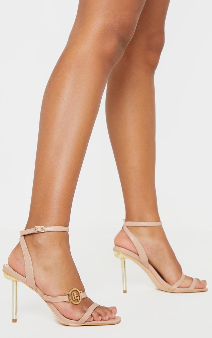 PRETTYLITTLETHING Nude Metal Heel Strappy Sandal 1