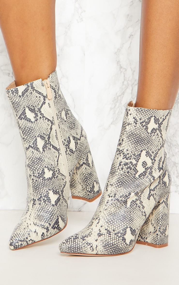 Beige Faux Snake Ankle Boot 2