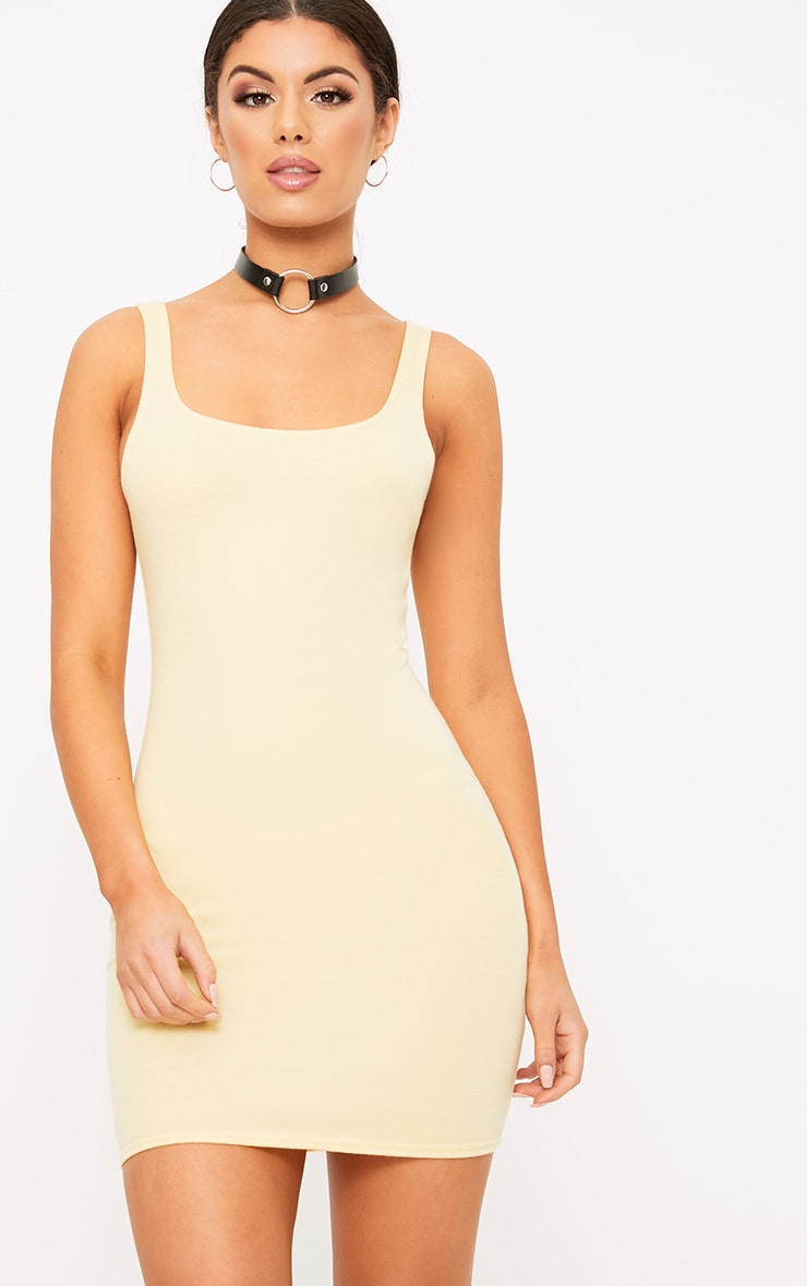 Carolin Lemon Scoop Neck Bodycon Dress 1