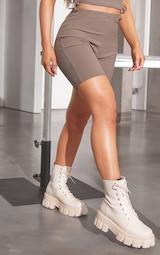 RENEW Khaki Rib Bike Shorts 2