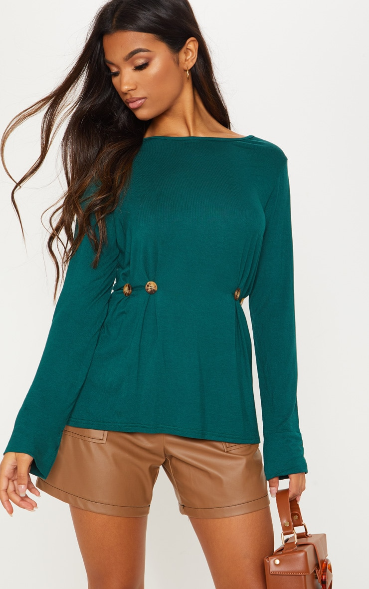 Emerald Button Waist Detail Long Sleeve Top