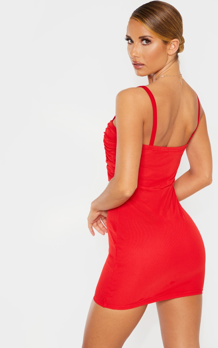 Red Sleeveless Ruched Bust Mesh Bodycon Dress 2