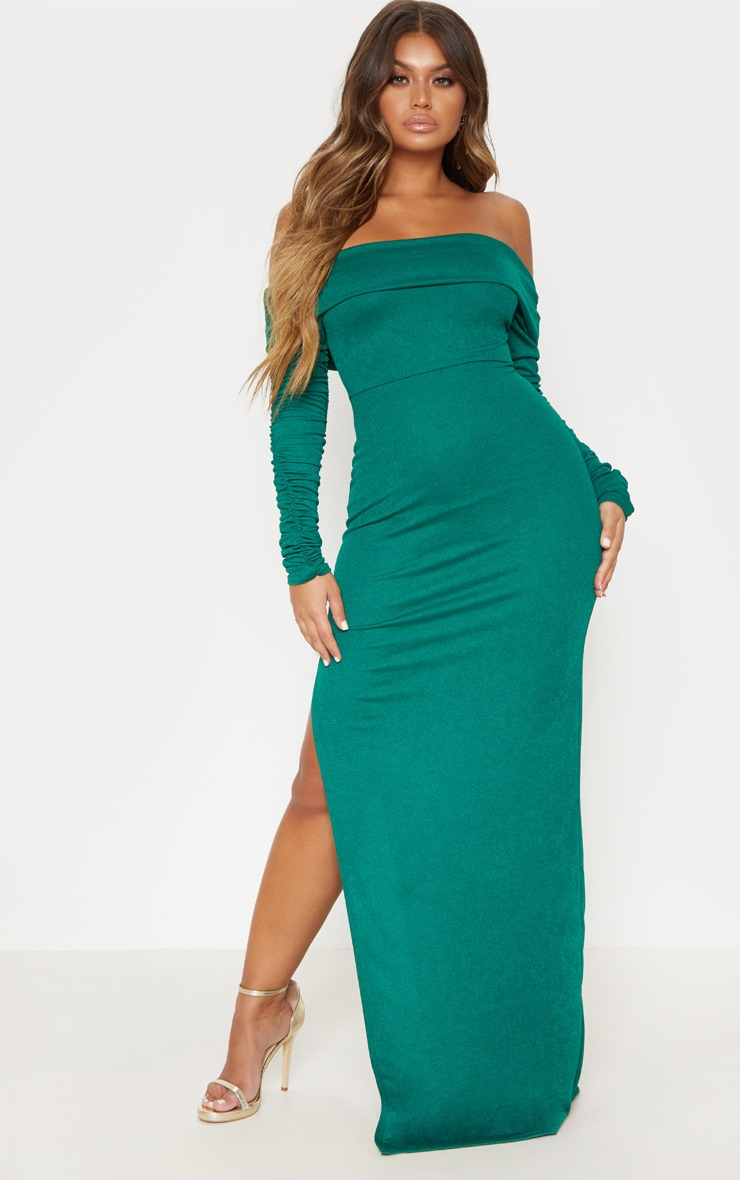 Emerald Green Bardot Long Sleeve Split Detail Maxi Dress